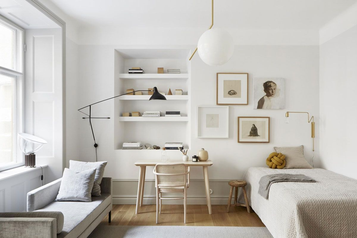 A perfectly styled 40 square meter stockholm apartment in a warm neutral palette