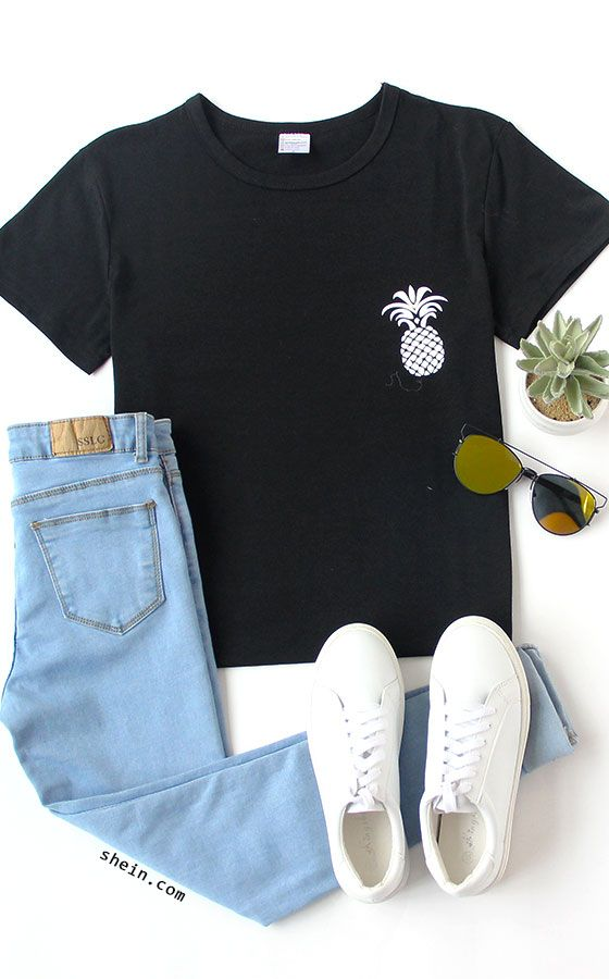 f2352b23ba59 Black Pineapple Print Drop Shoulder T-shirt