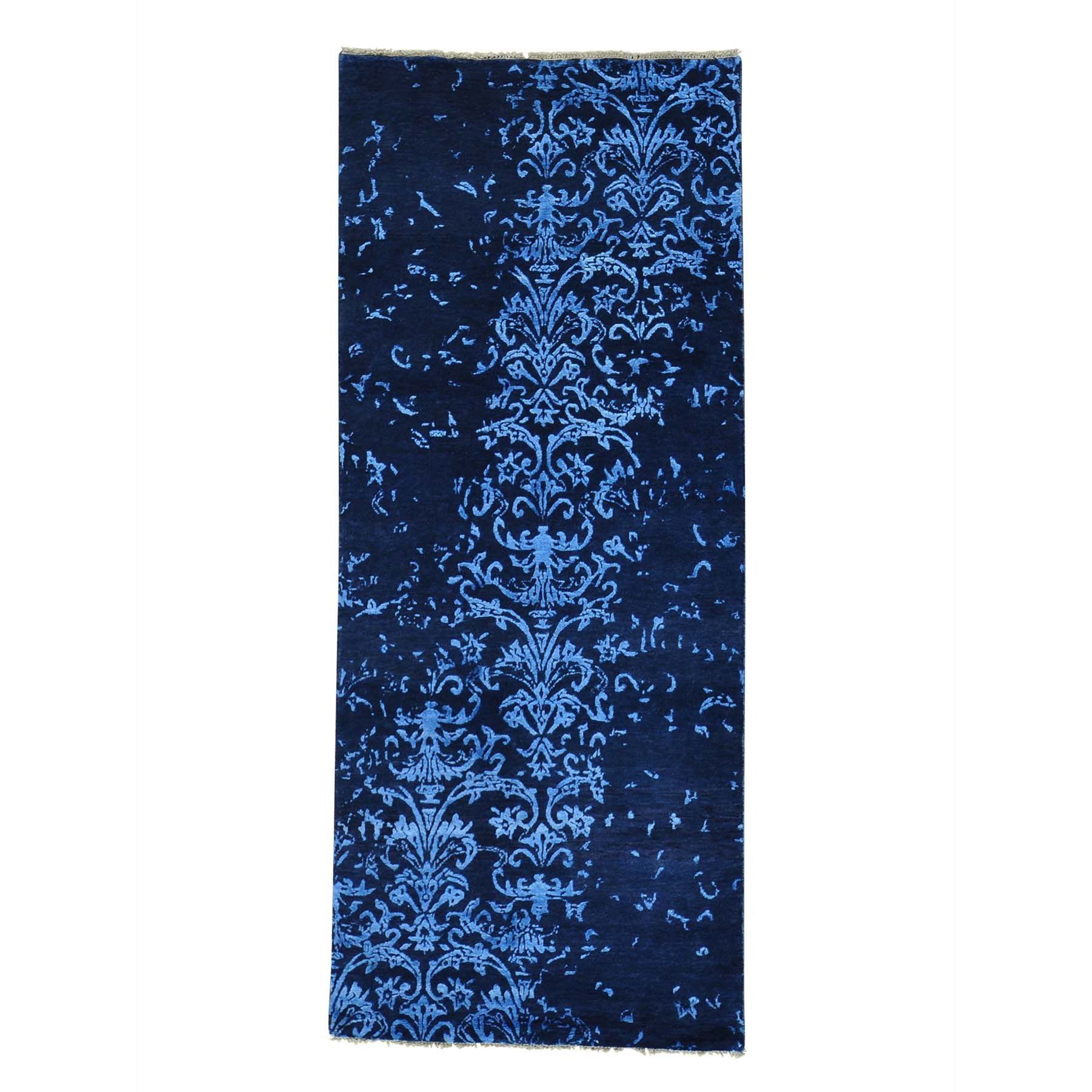 1800getarug Wool And Modern Damask Handmade Runner Rug