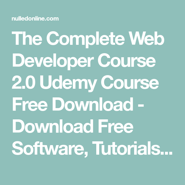 The Complete Web Developer Course 2 0 Udemy Course Free