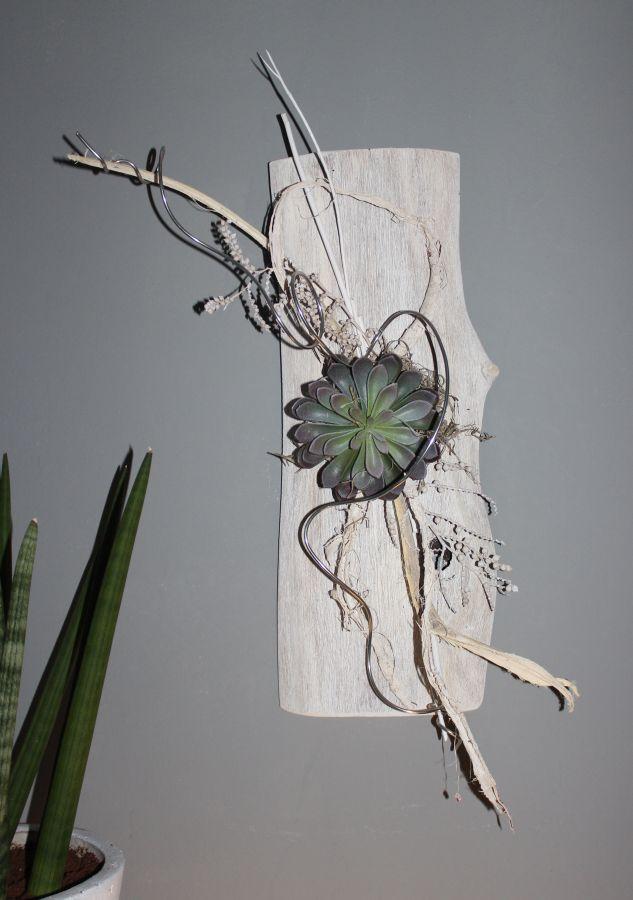 Spectacular WD u Au ergew hnliche Wanddeko Altes Eichenbrett wei gebeizt nat rlich dekoriert mit einer k nstlichen Sukkulente