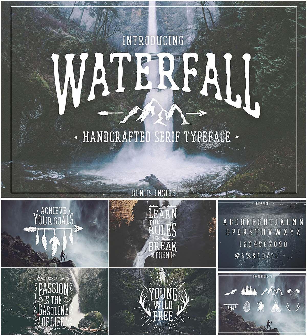Waterfall handwritten font with bonus Free script fonts