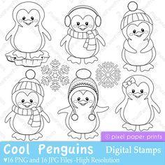 Digital Stamps Penguin Digital Stamps Weihnachtsmalvorlagen Ausmalbild Pinguin Stempeln