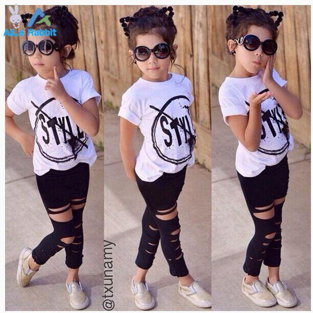 e6385073b 2016 Nova Moda Meninas Crianças Roupas Definir Menina do Verão T-Shirt de  Manga curta e Buraco Da Calça Leggings 2 PCS Outfit Crianças conjunto