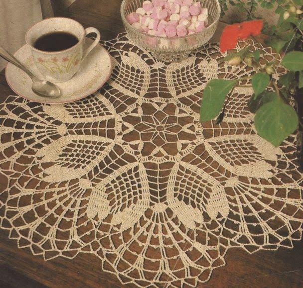 Patrón #450: Centro de mesa color crudo a Crochet #ctejidas http ...