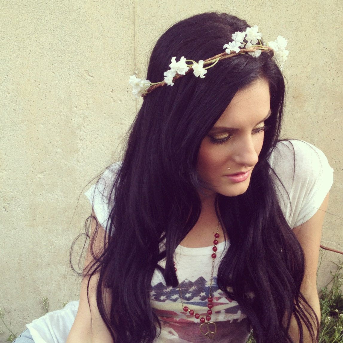 Coachella Edc Goddess Hair Wreathes Mini White Blooms Headband