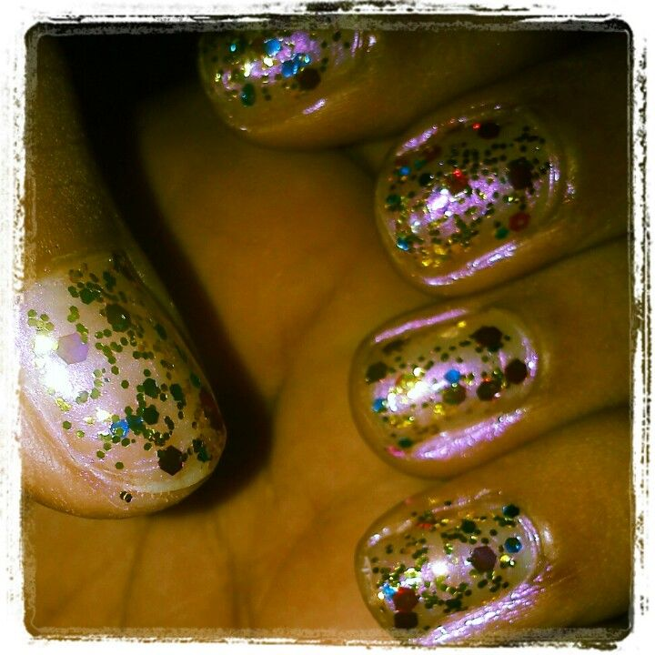 Did these with Saffron mixed gold glitter nail polish.
