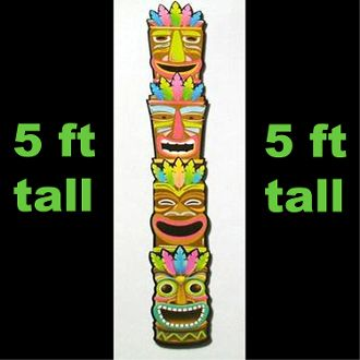 5-ft Jointed Tropical TIKI TOTEM Luau Party Voodoo Wall ...