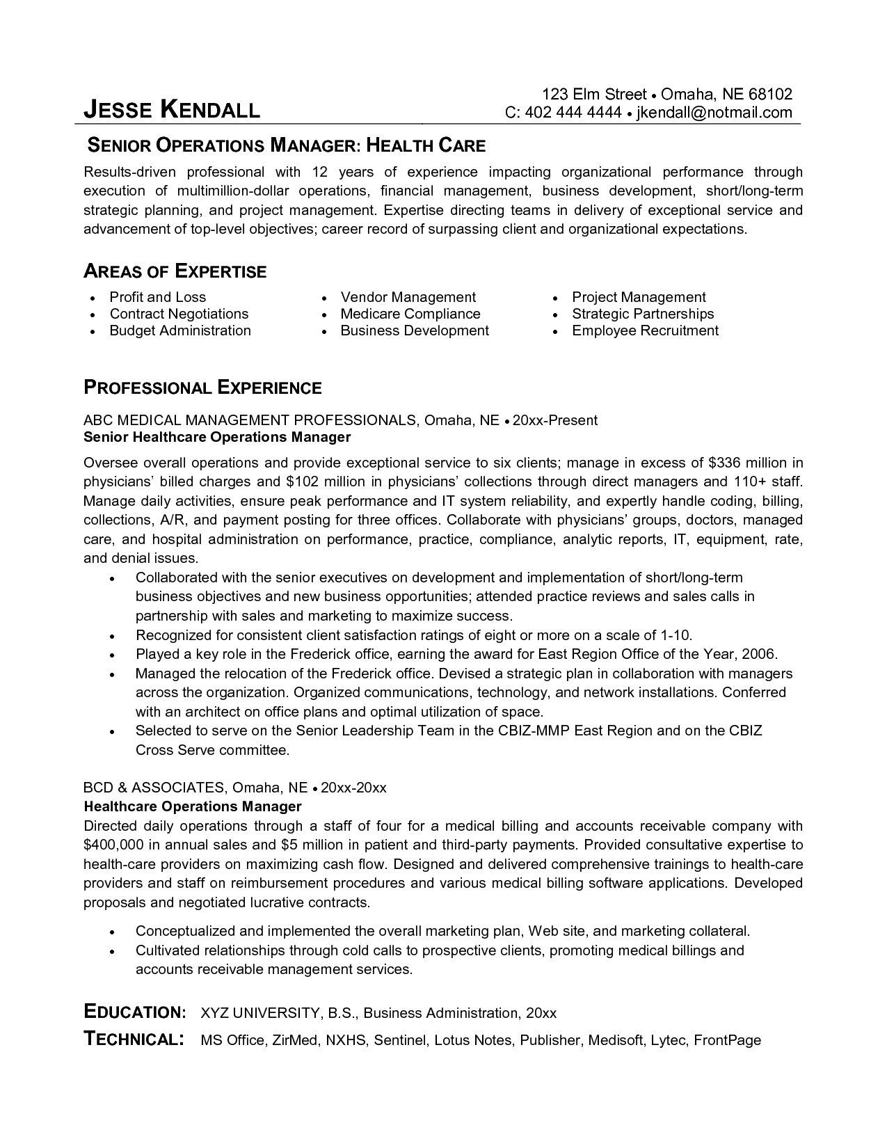 Resume Examples Healthcare Management Resume objective