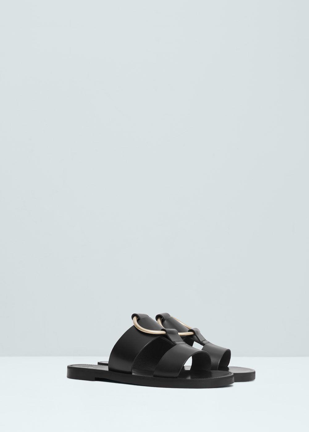 Appliqué leather sandals - Shoes for Women | MANGO USA