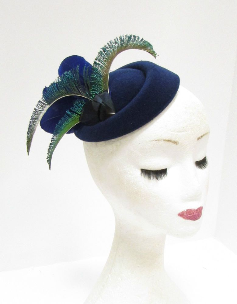 Pheasant and peacock feather navy pillbox fascinator clip or hair band accessory