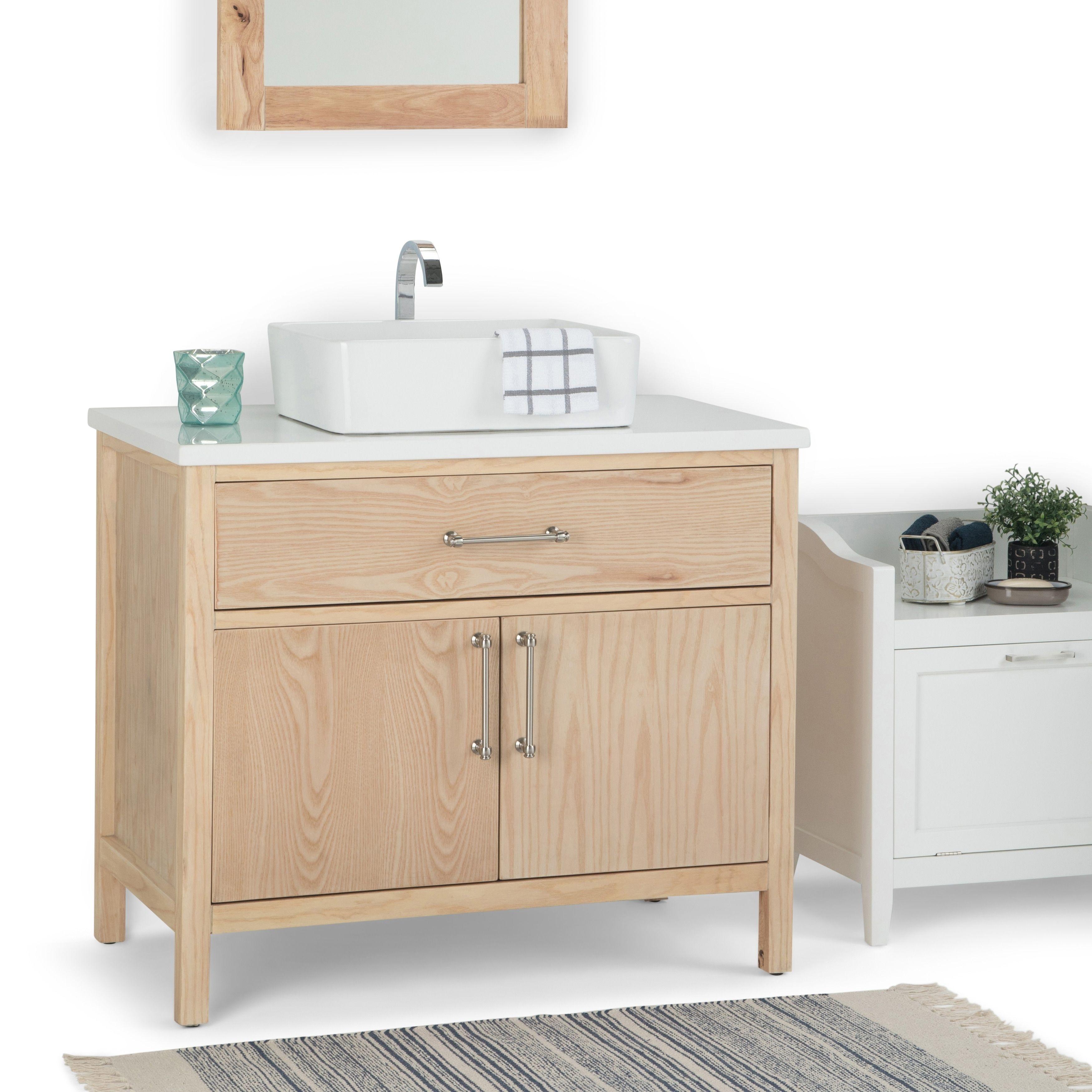Wyndenhall Farley 36 Inch Modern Bath Vanity With White Engineered Marble Top Rectangular Vessel Sink Beige Bath Vanities Single Bathroom Vanity Vanity [ 3500 x 3500 Pixel ]
