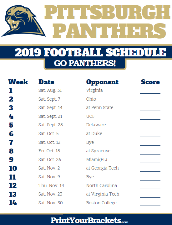 2019 Pitt Football Schedule Printable 2019 Pittsburgh Panthers Football Schedule | Printable
