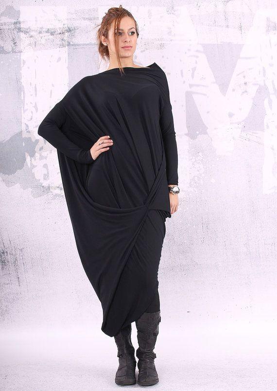 black dress, black maxi dress, loose maxi dress, plus size dress