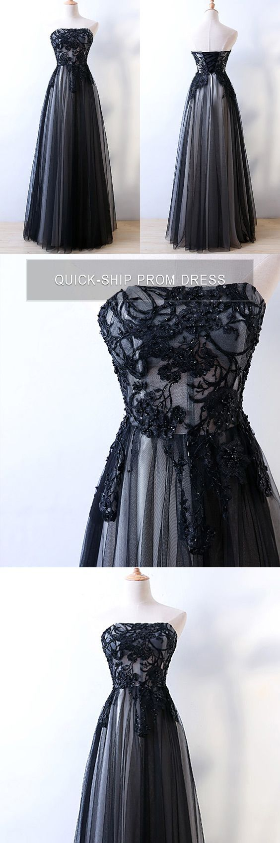Strapless sheath long black prom formal dress with corset back