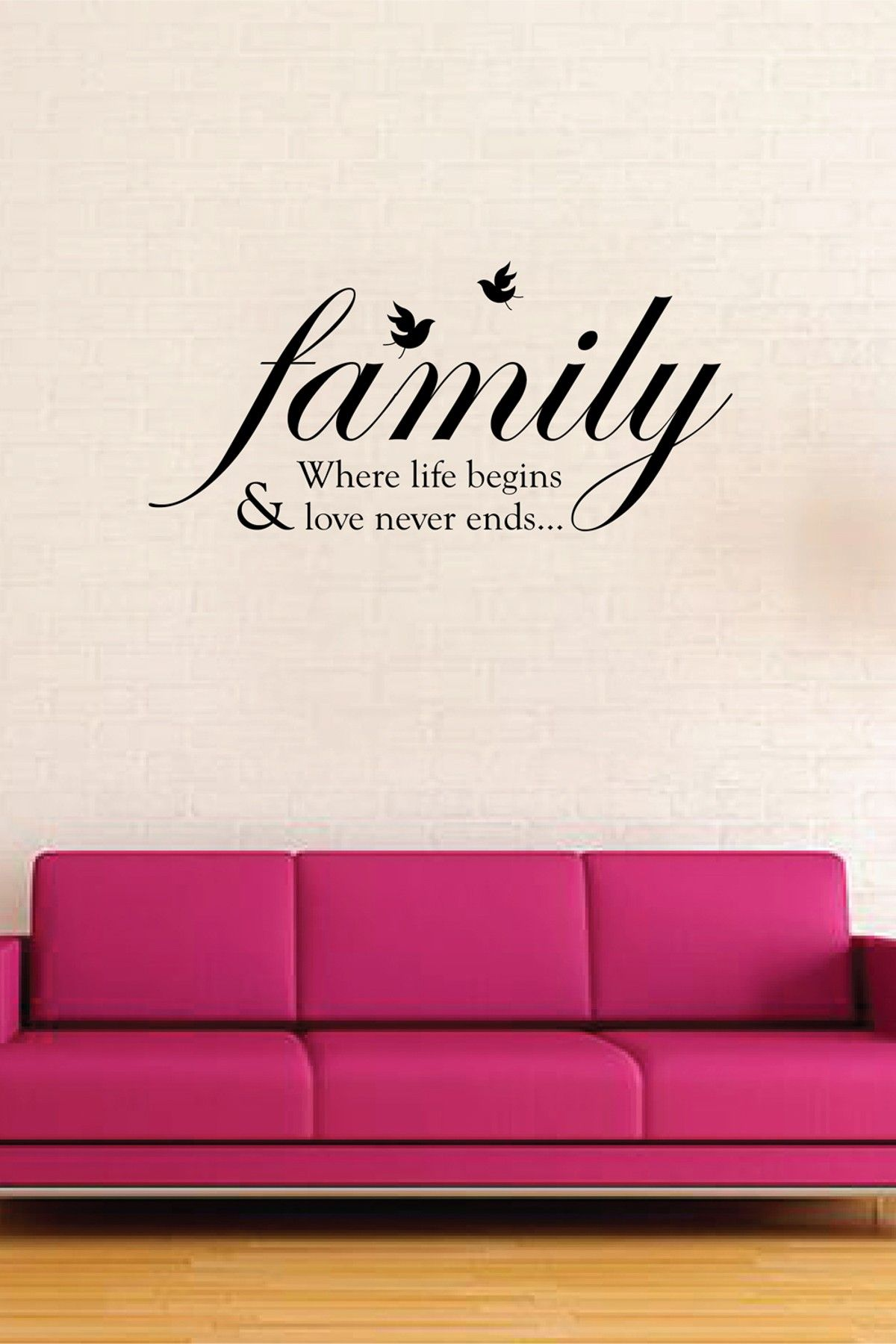 Black Home Family Bird Quote Wall Sticker