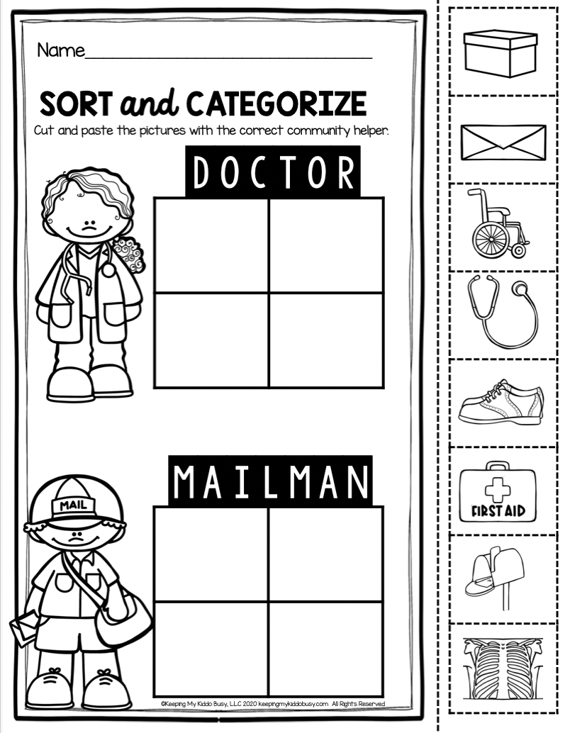 KINDERGARTEN FREEBIE community helpers printables easy to use science social …