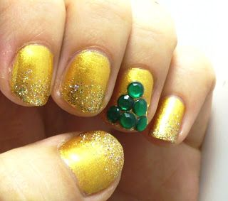 glitter gold and emerald green embellished nails for