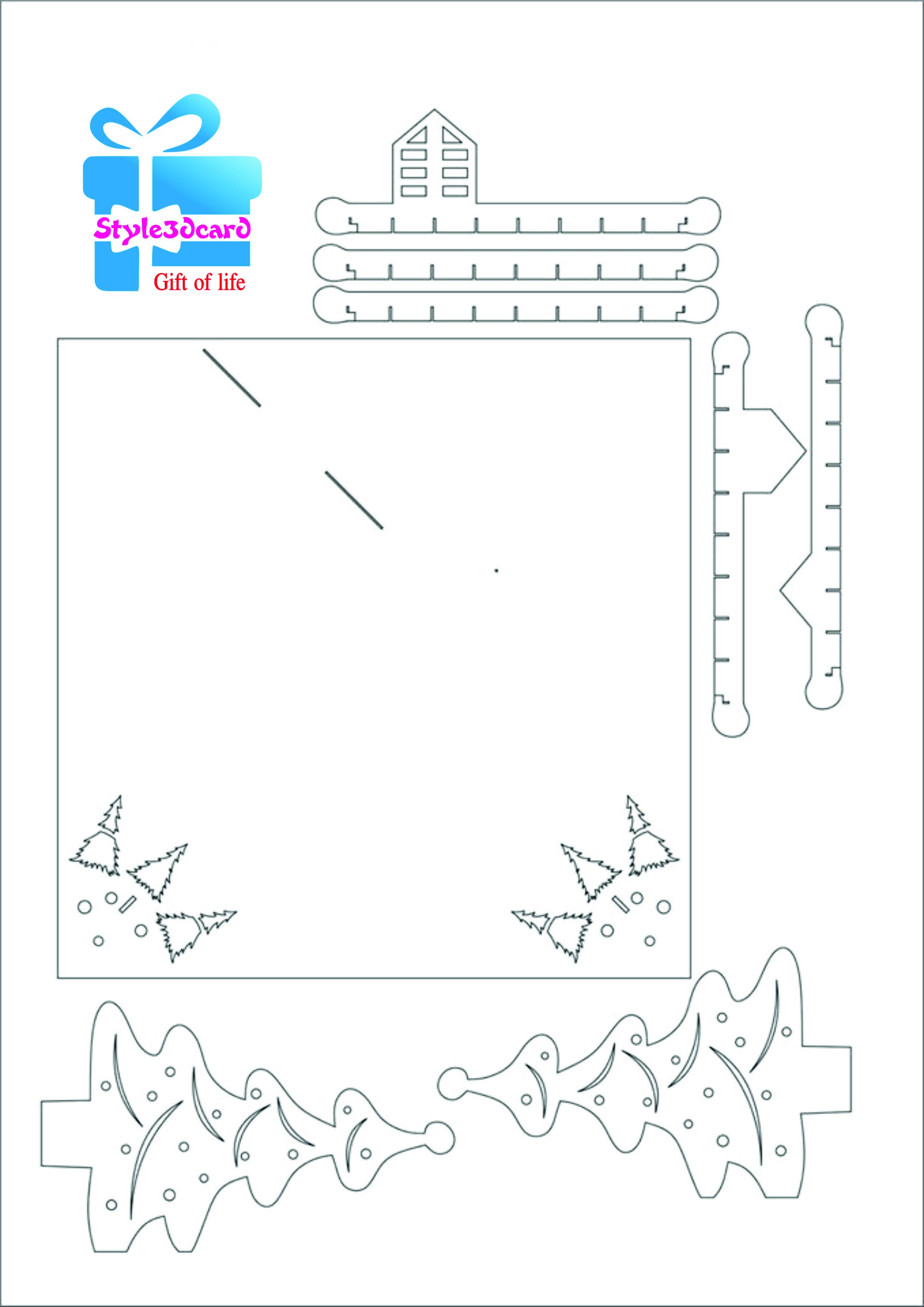 это очень новогодняя открытка в стиле киригами шаблон информацию вашем