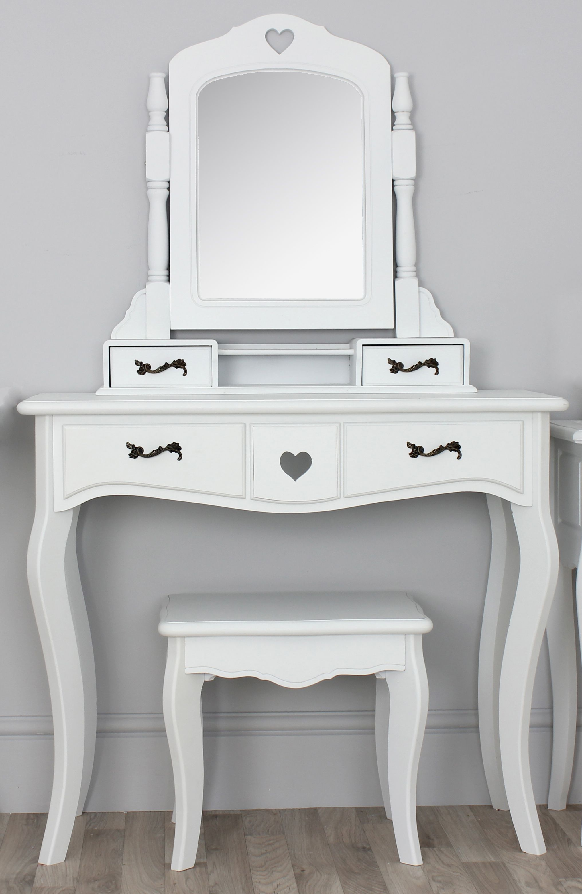 Narrow White Vanity Table With Four Drawers And Spinning