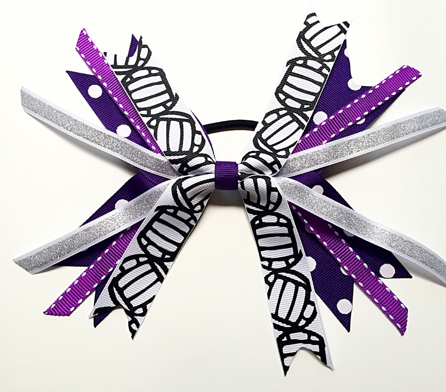 Custom Team Colors Purple And Silver Volleyball Hair Bows Volleyball Hair Ties Volleyball Ribbons Vol Volleyball Hair Bows Volleyball Ribbon Volleyball Bows