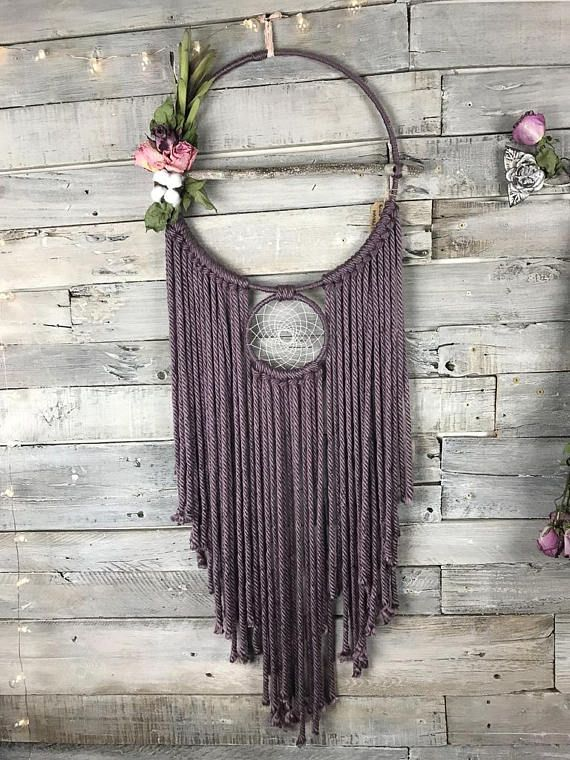 How To Make Different Types Of Dream Catchers Purple Floral DreamCatcher Dried Flowers Large dreamcatcher 17
