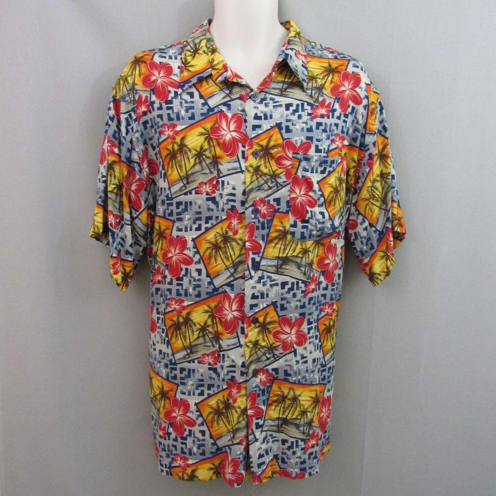 b226b881 Marc Edwards Shirt XL Hawaiian Tiki Sunset Palm Tree #MarcEdwards #Hawaiian