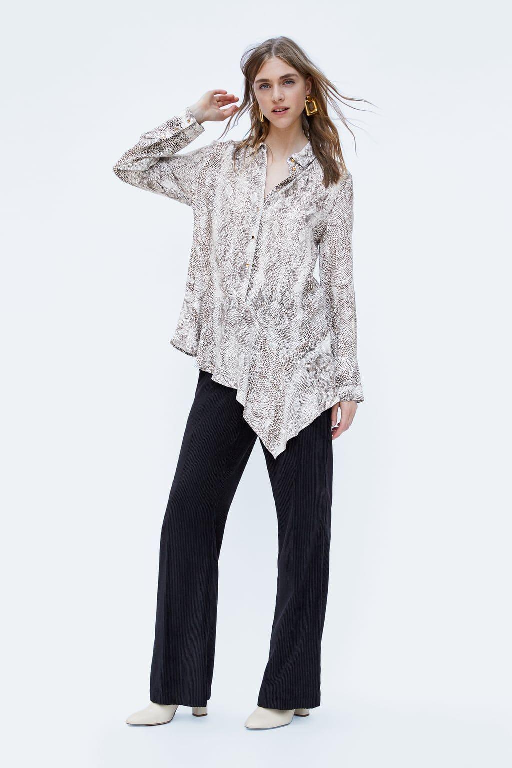 3fe06b856c4b Asymmetrical snakeskin print top   HHT SP20   Tops, Zara, Shirts