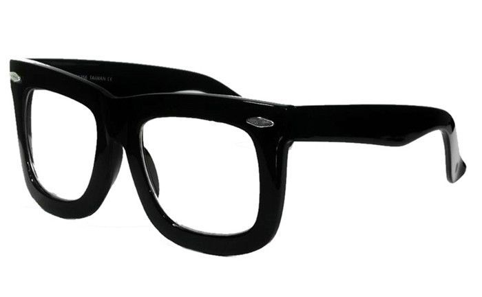 Oversized Smart Clear Lens Thick Square Large Frame Eyeglasses 256