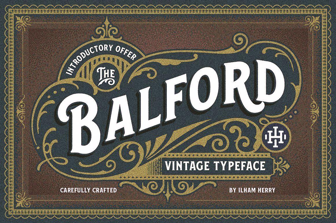 Balford Font And Ornament Vintage Fonts Victorian Fonts Vintage Labels