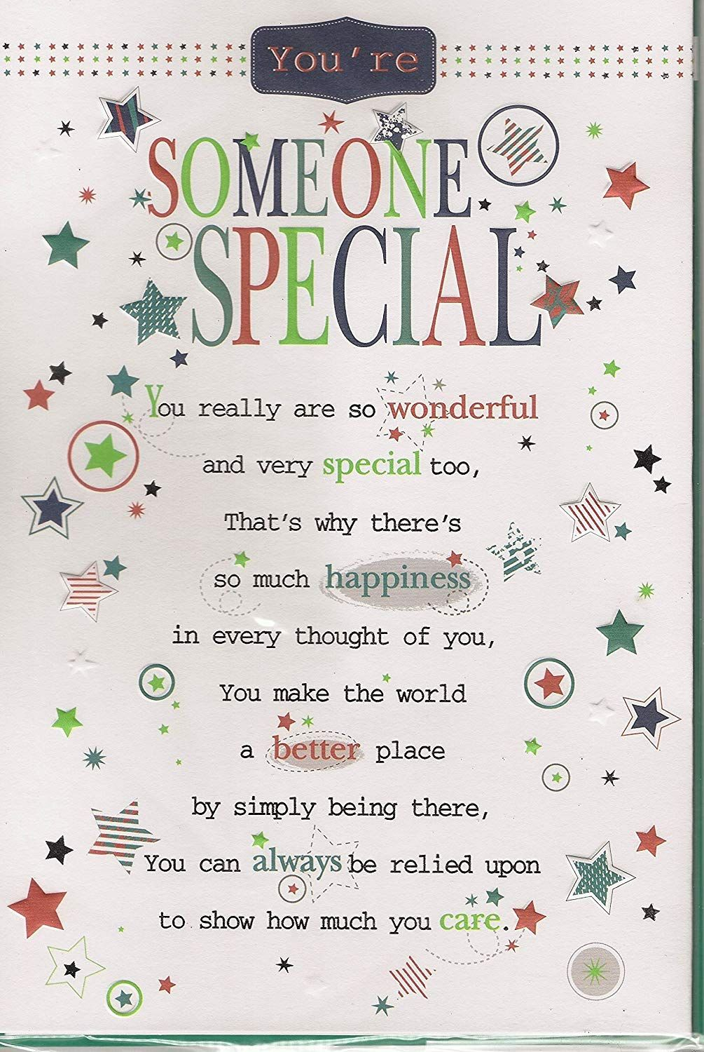 Someone Special Birthday Card You Re Someone Special Male Or Female Caring Greetings Card Amazon Co Special Birthday Cards Birthday Cards Special Birthday