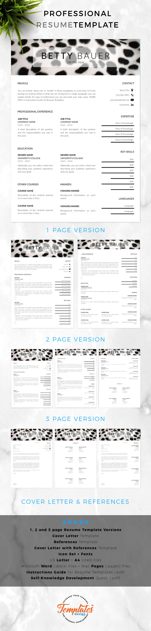 Pet Care Resume Animal Care Cv Template For Word Pages Cv For Animal Care Workers Pet Sitters Or Animal Caretakers Instant Download Plantilla Cv