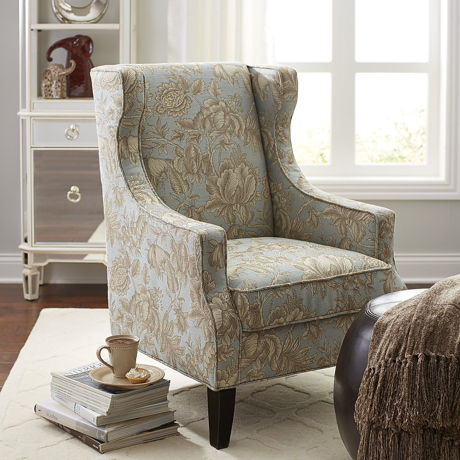 Alec Blue Floral Wing Chair Fabric ChairsPiano RoomLiving