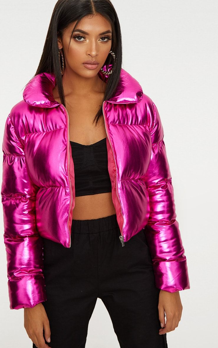 0b9ca7fcfcee Hot Pink Metallic Cropped Puffer Jacket | Down 2 in 2019 | Puffer ...