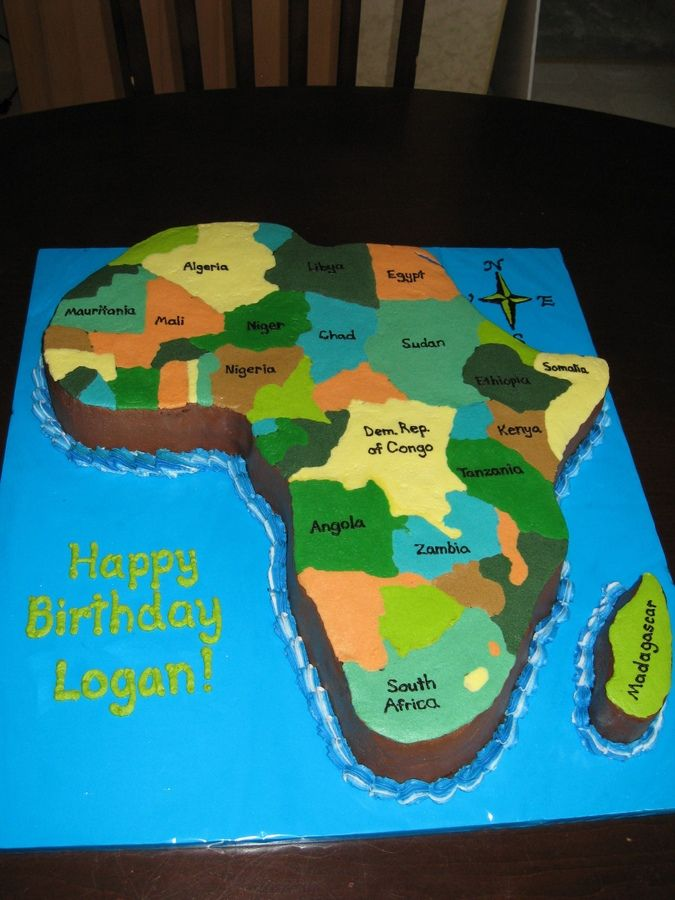 Africa Map Cake Africa cake — Birthday Cakes | Africa cake, Africa party, African cake