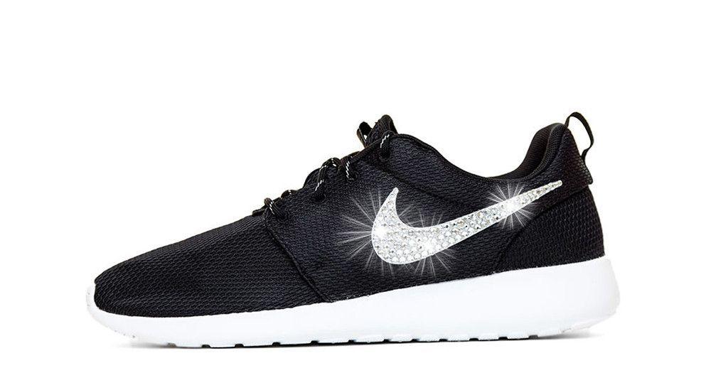ffc39eaa68ba Girls  Nike Roshe One - Crystallized Swarovski Swoosh - Black White - Big  Kids  (3.5y-7y)