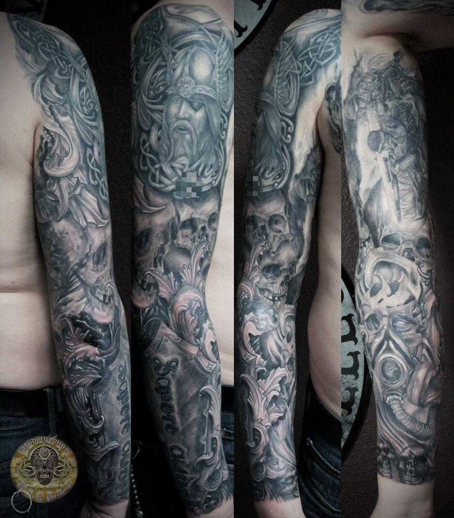 Viking Warrior Tattoos Sleeve Skull Horror Viking Military Tats