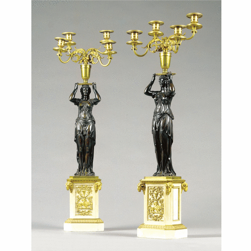 A pair of bronze, gilt-bronze and white marble candelabra<br>Directoire, circa 1790 | lot | Sotheby's