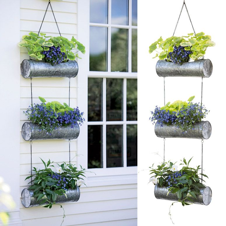 Galvanized Metal Vertical Hanging Triple Tube Planter Container Gardening Flowers Planters Metal Planters