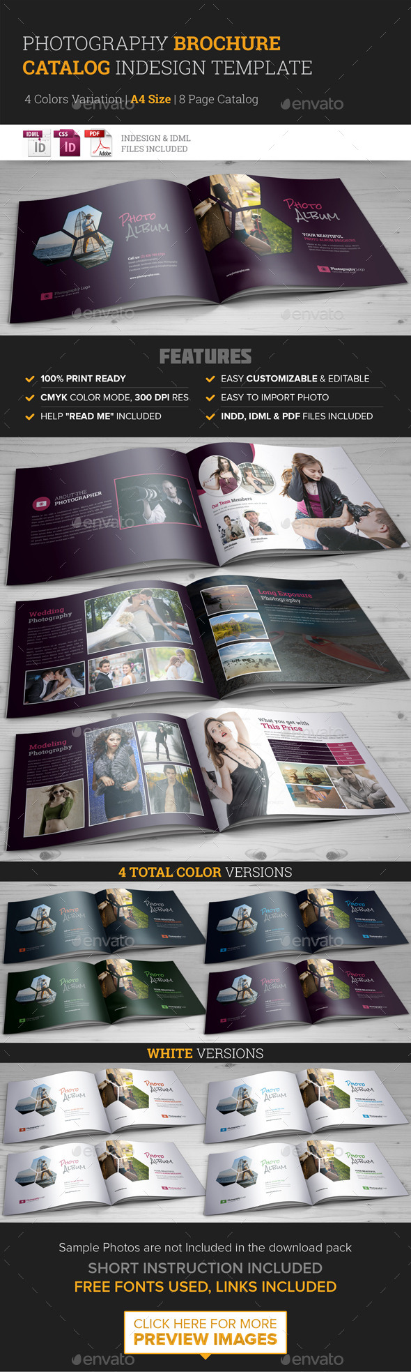 Photography Brochure Catalog InDesign Template | Libros