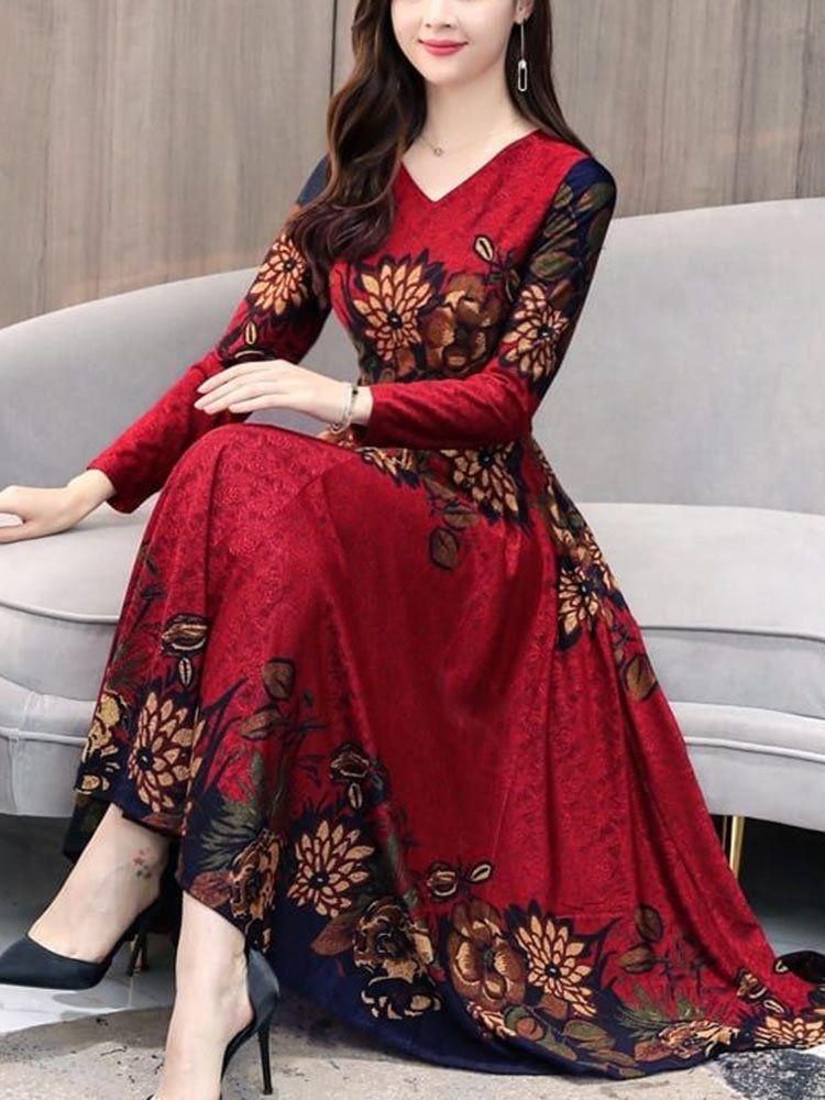 Floral printed vneck longsleeved maxi dress maxi dress