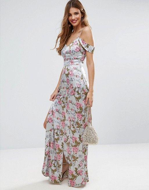 58126efdfdf8 ASOS Rose Floral Cold Shoulder Satin Maxi Dress