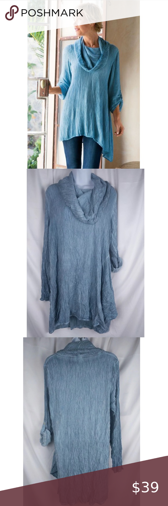 Soft Surroundings Crinkle Gauze Tunic Top M50 Ymetrical Cowl Neck