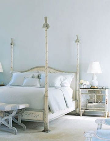 Elegant French Blue Bedroom Design With French Poster Bed With Mirrored  Nightstands!