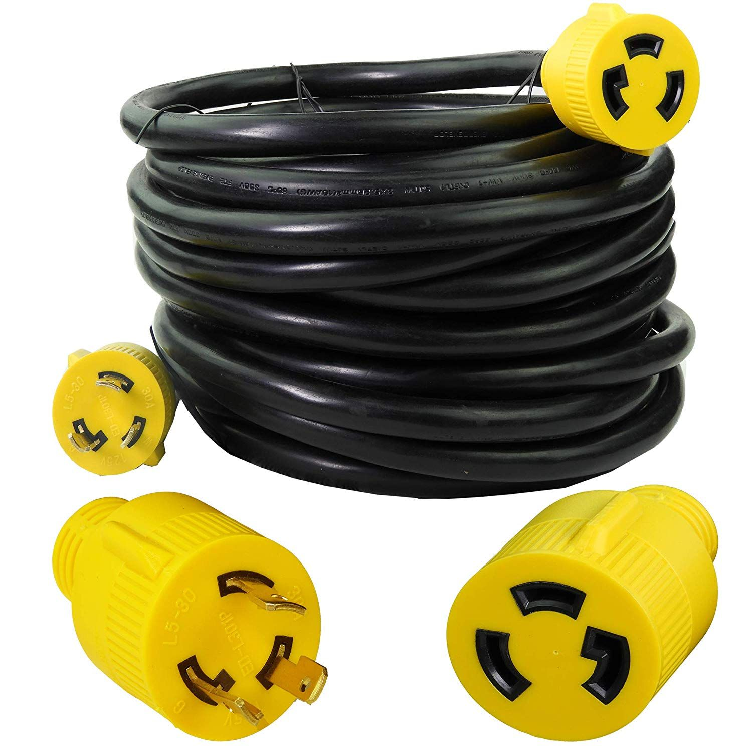 Leisure Cords 3 Prong 50 Foot 30 Amp Generator Cord 10 Gauge Heavy Duty L5 30 Generator Power Cord Up To 3750w 50 Generator Cords Extension Cord Adapter Plug