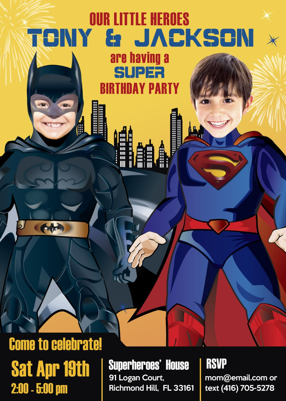 Twin boys superhero birthday party invitations. Batman vs Superman ...