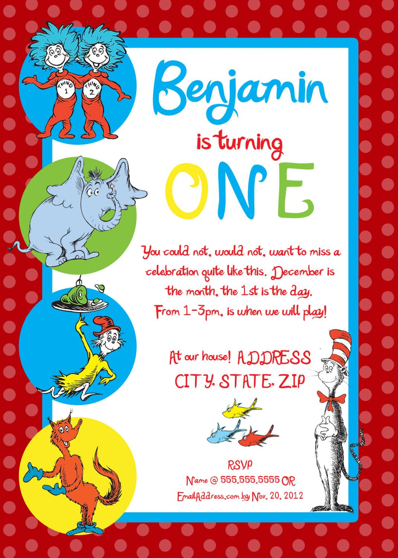 Dr Seuss First Birthday Party Invitation 20 00 Via Etsy