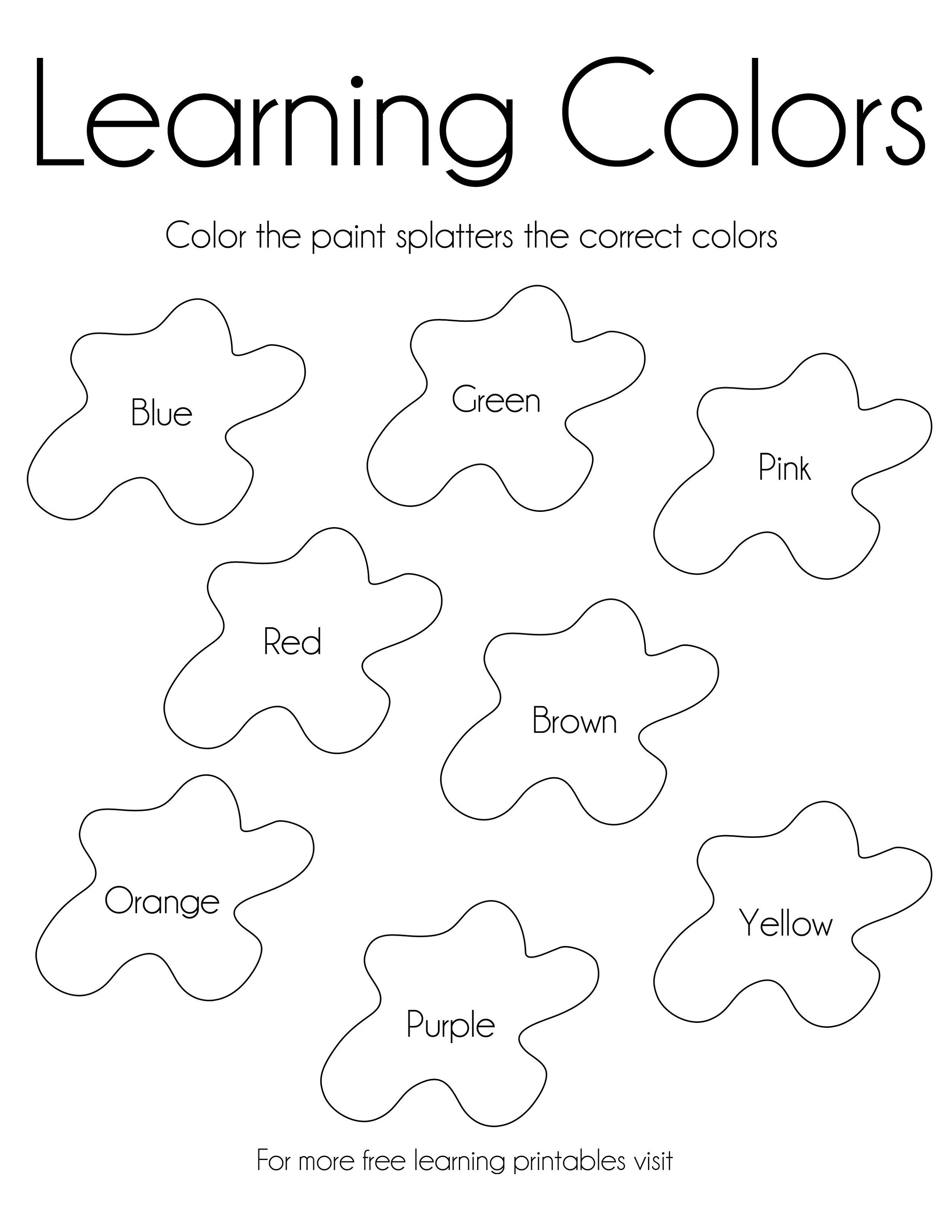 Activity Sheets For 5 Year Olds Funny Learning Colors Kids