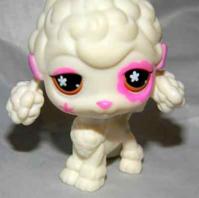 Littlest Pet Shop White French Poodle 551 Pink Bows And Eye Patch