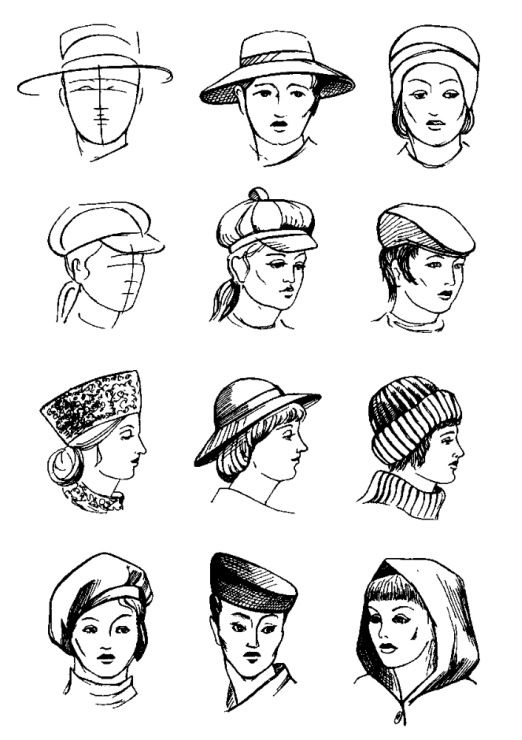 Головные женские уборы шляпки картинки раскраски